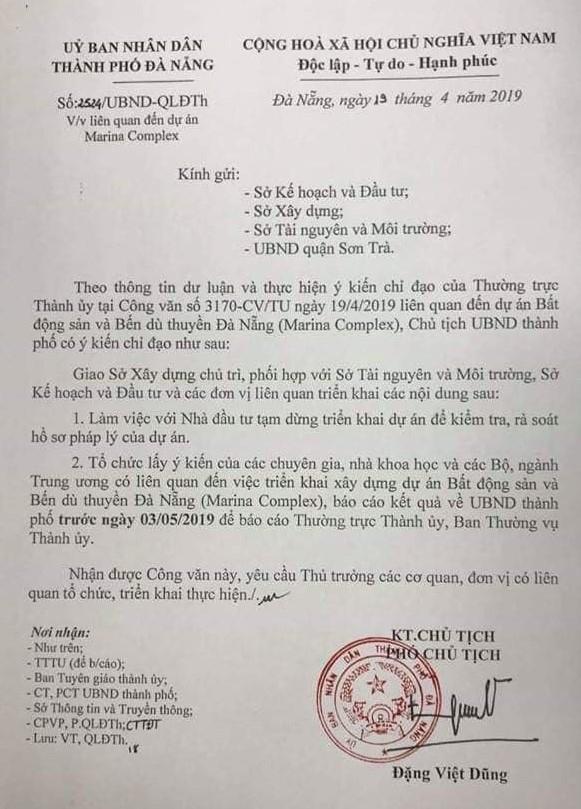 Da Nang tam dung du an lan song Han Marina Complex de kiem tra phap ly