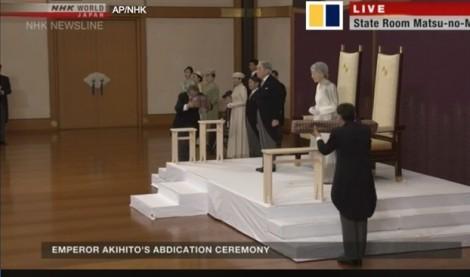 Nhật hoàng Akihito hoàn tất nghi thức thoái vị sau bài phát biểu cuối cùng tại cung điện