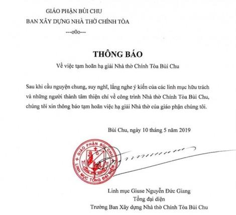 Hoãn hạ giải nhà thờ Bùi Chu