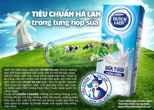Da co loi giai cho nhung yeu to lam nen nguon sua dau vao chat luong cua sua tuoi Co Gai Ha Lan