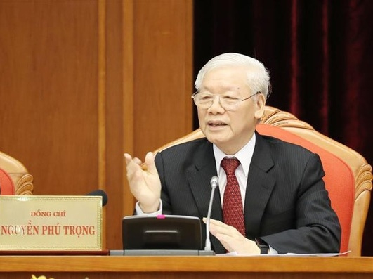 Tong Bi thu, Chu tich nuoc Nguyen Phu Trong khai mac Hoi nghi Trung uong 10