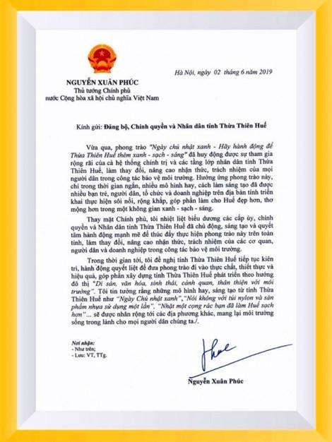 Thủ tướng gửi thư khen Thừa Thiên Huế làm tốt phong trào 'Ngày Chủ nhật xanh'