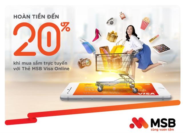 MSB ra mat the tin dung moi: hoan tien toi 20% khi chi tieu online