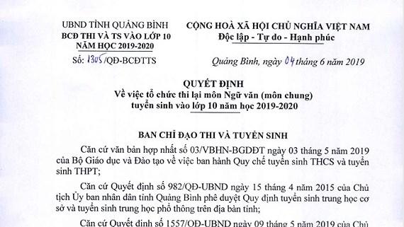 Cong an Quang Binh dieu tra vu trung de thi mon van
