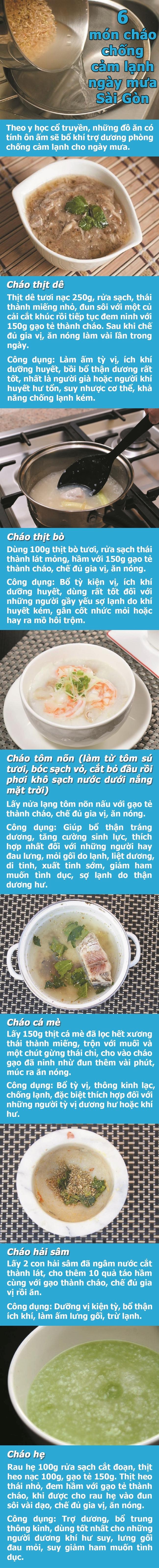 6 mon chao chong cam lanh ngay mua Sai Gon