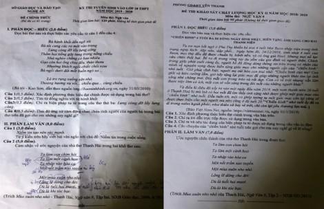 Xôn xao đề thi lớp 10 ở Nghệ An 'giống đề thi học kỳ'