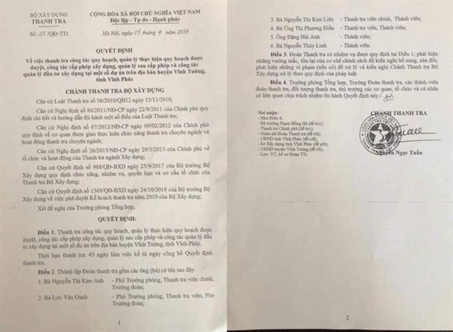 Tiet lo danh tinh 6 can bo trong doan thanh tra xay dung nghi 'voi tien'