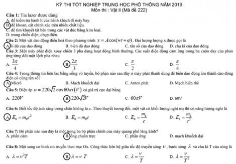 Bài giải đề thi môn vật lý thi THPT quốc gia 2019