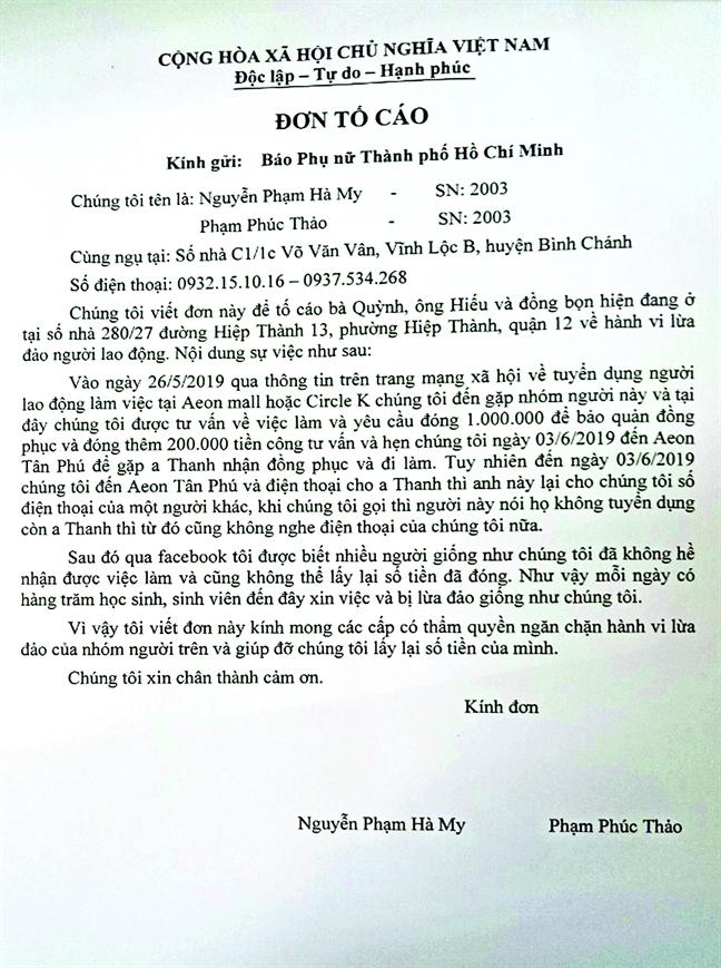 Vu 'muon danh Circle K tuyen dung, lua tien sinh vien': Trong cho  cong an ra tay