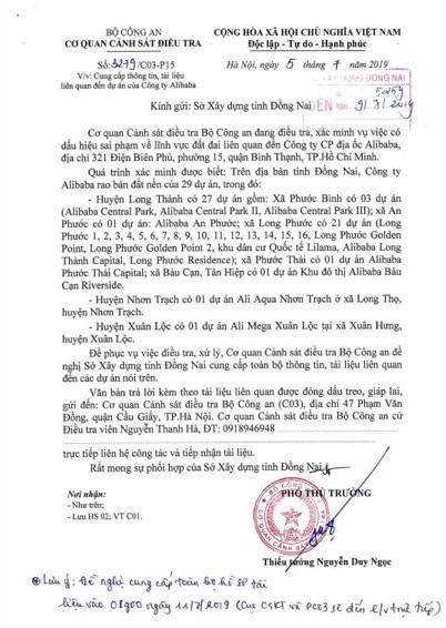 Bo Cong an trieu tap em trai Chu tich dia oc Alibaba Nguyen Thai Linh, tap hop ho so 29 du an o Dong Nai