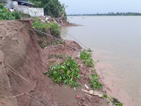 Đồng bằng sông Cửu Long sạt lở liên miên, dân ven sông nơm nớp sợ bị nuốt nhà