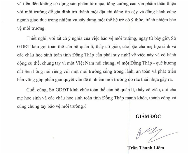 Giam doc So GD-DT Dong Thap keu goi khong tha bong bay vi moi truong