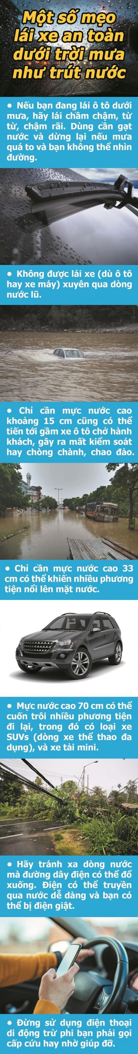 Một số mẹo lái xe an toàn dưới trời mưa như trút nước