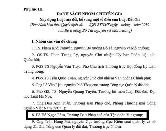 Vingroup co dai dien tham gia... soan thao sua doi Luat dat dai