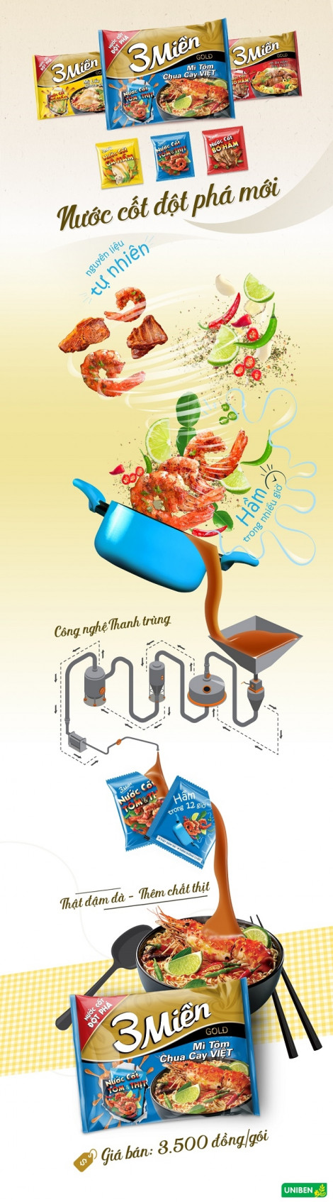 Mì 3 Miền Tôm Chua Cay Việt tiên phong với nước cốt tôm và thịt