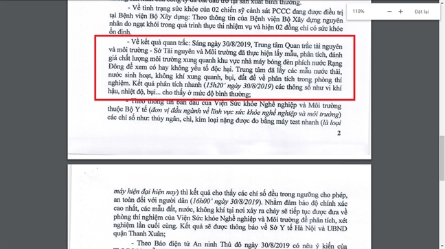 Quan Thanh Xuan van giu quan diem ve chi so an toan sau vu chay Rang Dong