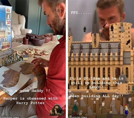 David Beckham thức đêm xây lâu đài cho con gái Harper