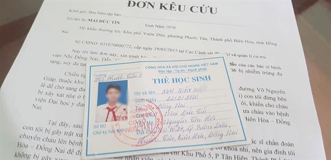 Benh vien Nhi dong Dong Nai ho tro 320 trieu dong cho benh nhi 13 tuoi tu vong