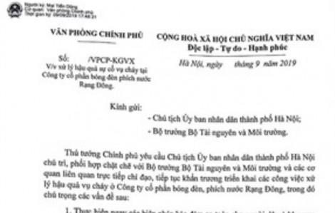 Thủ tướng chỉ đạo xử lý nghiêm vụ cháy Công ty Rạng Đông