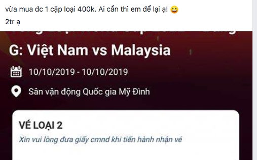 Gia ve tran Viet Nam – Malaysia bi day len 6-8 trieu dong/cap