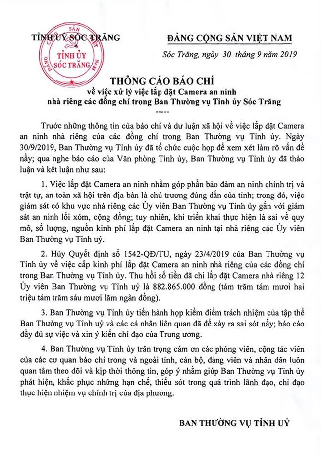 Soc Trang huy viec lap camera nha rieng cac Uy vien Ban thuong vu Tinh uy