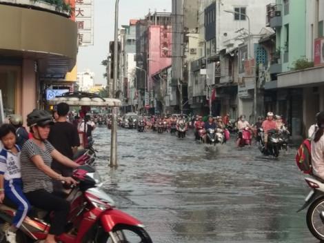 Dân văn phòng ở trung tâm Sài Gòn hì hục 'tăng ca' tát nước chống ngập