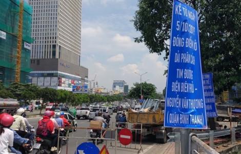 Đóng nút giao thông gần cầu Sài Gòn phục vụ dự án thoát nước