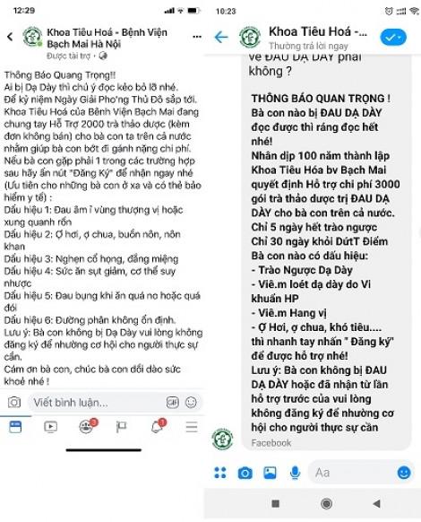 Vạch mặt trang Facebook giả danh Bệnh viện Bạch Mai lừa bệnh nhân mua trà thảo dược trị đau dạ dày