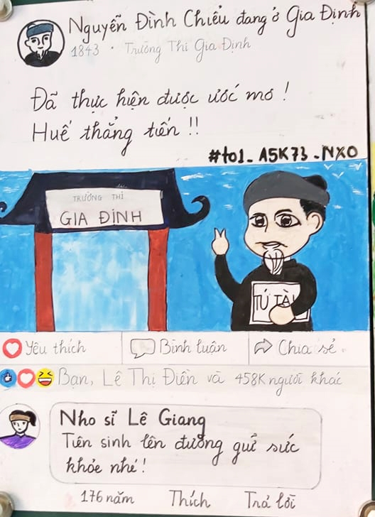 Cuoc doi cu Nguyen Dinh Chieu duoc nhom hoc sinh 11 phac hoa qua Facebook