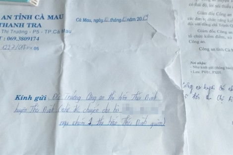 Cà Mau: Kiểm điểm một đại úy công an 'mắc mớ' chuyện tiền bạc với người dân