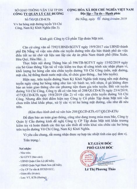 Đà Nẵng liên tục gửi đề nghị Sun Group sửa chữa các tuyến đường bị làm hỏng