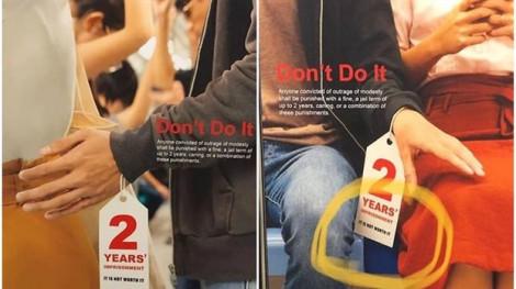 Poster tuyên truyền chống quấy rối tình dục tại ga tàu điện ở Singapore bị lên án