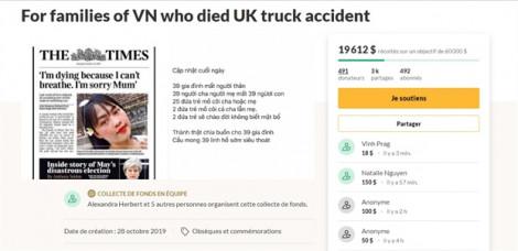 Số tiền quyên góp hồi hương thi thể 39 nạn nhân người Việt trong xe tải lạnh ở Anh vượt 110.000 USD