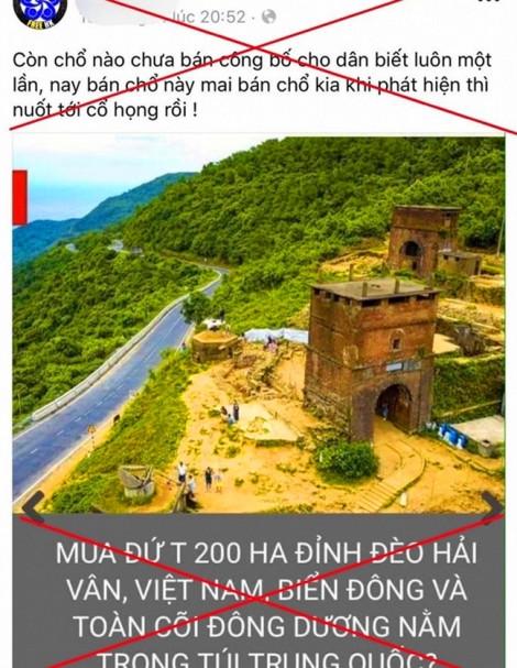 Tỉnh Thừa Thiên - Huế nói thông tin bán 200 ha đất ở núi Hải Vân cho người Trung Quốc là bịa đặt