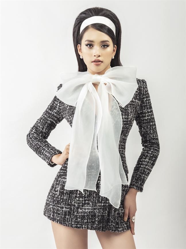 Mac trang phuc vai tweed thoi thuong cung Hoa hau Tieu Vy