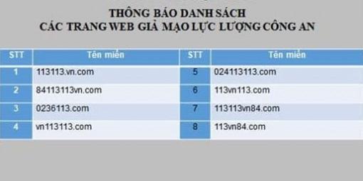 Cảnh báo nhiều trang web giả mạo lực lượng công an