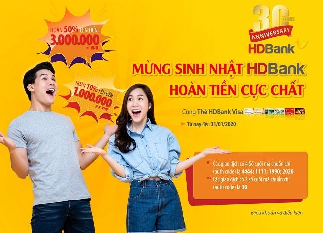 Uu dai hoan tien 50% khi su dung the HDBank Visa