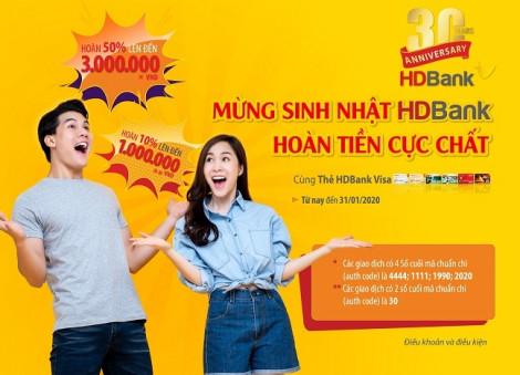 Ưu đãi hoàn tiền 50% khi sử dụng thẻ HDBank Visa