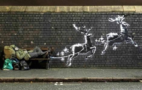 Thông điệp Giáng sinh  cho người vô gia cư của Banksy lại gây sốt