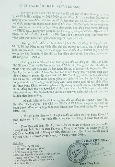Thanh toán khống tiền chống bão, cách chức Phó bí thư Đảng ủy đối với Chủ tịch xã