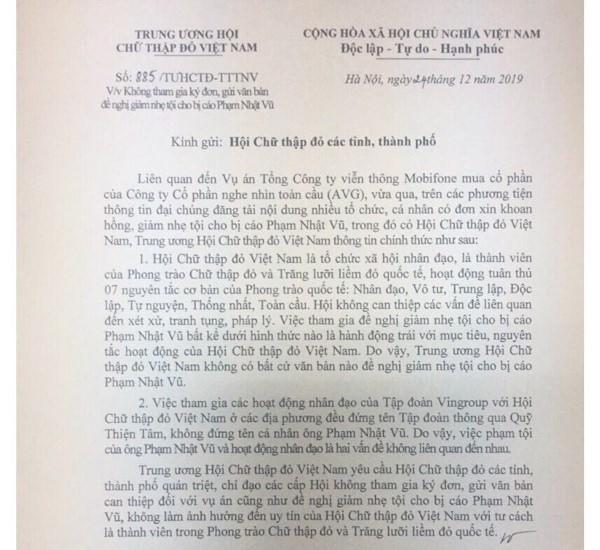 Trung uong Hoi Chu thap do phu nhan viec de nghi giam toi cho Pham Nhat Vu