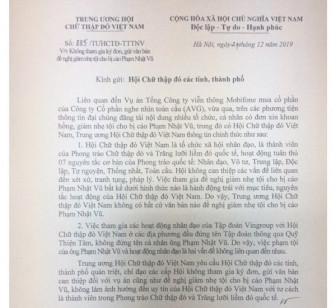 Trung ương Hội Chữ thập đỏ phủ nhận việc đề nghị giảm tội cho Phạm Nhật Vũ