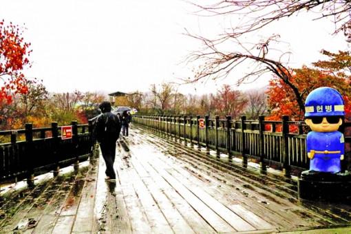 Trong mưa tôi đi trên chiếc cầu gỗ ấy