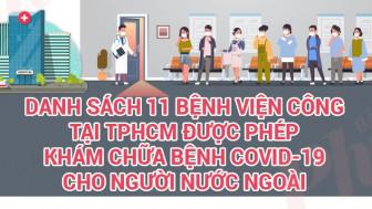 Công bố 11 bệnh viện công tại TPHCM được phép khám chữa bệnh COVID-19 cho người nước ngoài