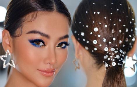 Hoa hậu Phương Khánh mất 2 tiếng để đính hàng trăm viên pha lê lên tóc