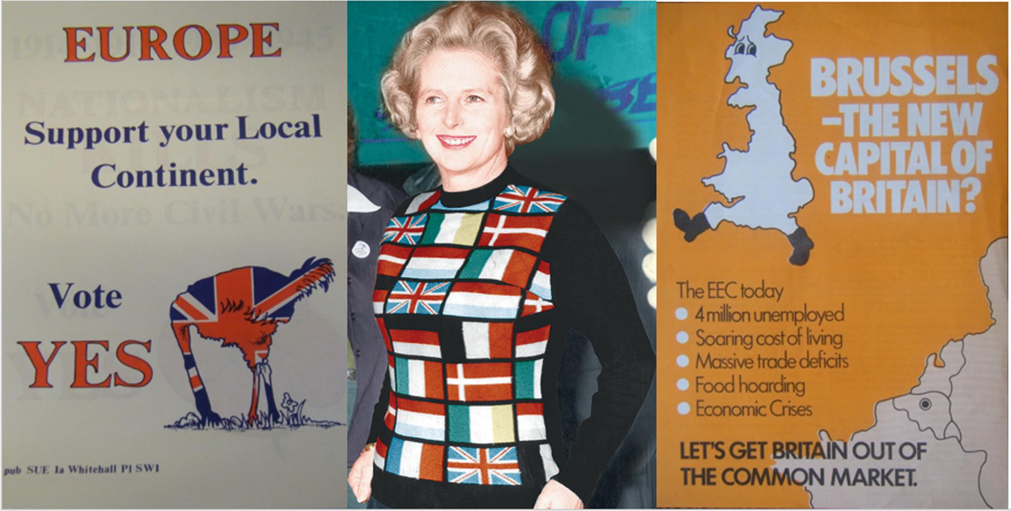Thủ tướng Anh Margaret Thatcher mặc chiếc áo in hình các quốc gia châu Âu, đứng trước những tấm áp phích cho các chiến dịch Có và Không tại cuộc trưng cầu dân ý năm 1975