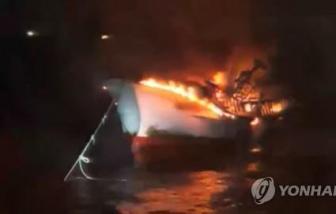 Cháy tàu cá gần đảo Jeju, 5 người Việt mất tích
