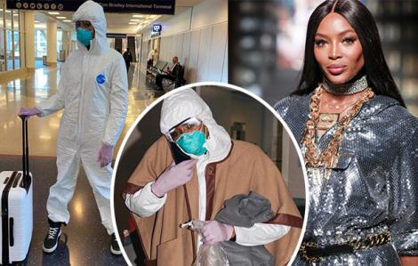 Siêu mẫu Naomi Campbell gây cười với thời trang sân bay thời dịch bệnh