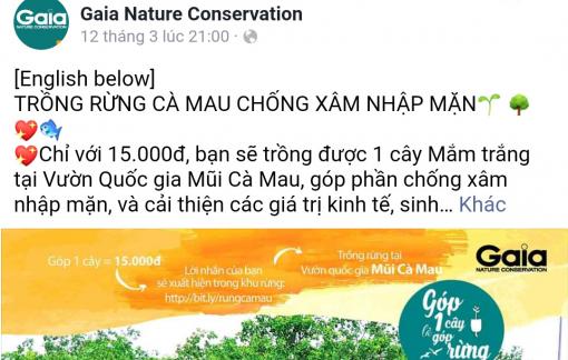Xuất hiện một tổ chức tự ý vận động góp quỹ trồng rừng tại Cà Mau