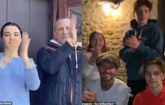 """Gia đình David Beckham, """"James Bond"""" vỗ tay, cảm ơn y bác sĩ trong đại dịch"""